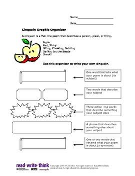 Poetry Cinquan Graphic Organizer Intermediate Planning Ideas Poem ELA Language