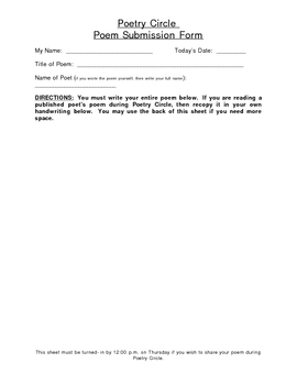 Poetry Circle Submission Form
