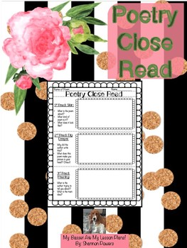 Poetry Close Read Graphic Organizer