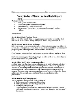 Poetry Collage Book Report Project