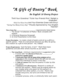 """""""Poetry Collection Project"""" A Project Creating a Poetry Gift Book"""