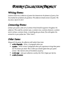 Poetry Collection Writing Project