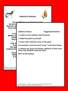 Poetry Collective Nouns Packet