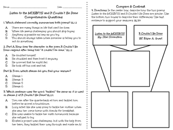 Poetry Comprehension - Aligned with FSA