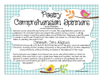 Poetry Comprehension Centers Spinner - CCSS Aligned RL.3, 4, 5.10