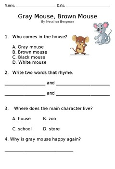 Poetry Comprehension - Gray Mouse