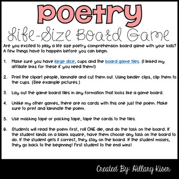 Poetry Comprehension Life-Size Board Game