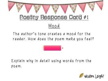 Poetry Comprehension Task Cards