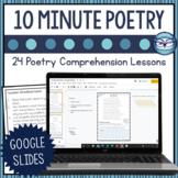 Poetry Comprehension Test Prep   Google Slides for Distant