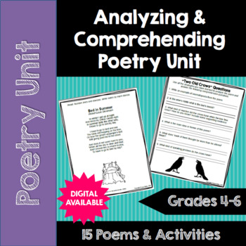 Poetry Unit: Analyzing and Comprehending Poems- Common Core- 4th, 5th, 6th