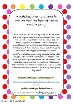 Poetry Comprehension Worksheet