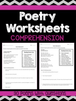poetry comprehension worksheets by rigorous resources by. Black Bedroom Furniture Sets. Home Design Ideas
