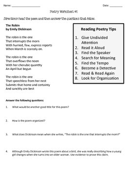 poetry comprehension worksheets by rigorous resources by lisa tpt. Black Bedroom Furniture Sets. Home Design Ideas