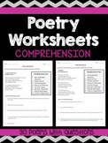 Poetry Comprehension Worksheets