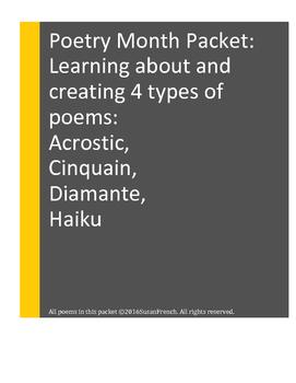 POETRY Creation: Acrostic, Cinquain, Diamante, Haiku, Grades 3, 4, 5
