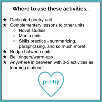 Poetry Creation Station Activities - Middle School & Secondary ELA