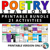 Poetry - 21 Creation Station Activities - Middle School &