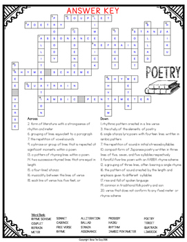 Poetry Crossword by Bow Tie Guy and Wife | Teachers Pay Teachers