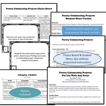Poetry Culminating Projects For Use With Any Poem [Task Cards / Choice Board]