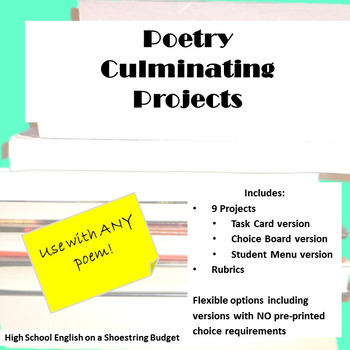 Poetry Culminating Projects For Use With Any Poem [Task Ca