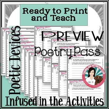 Poetry Devices Activities and Assessment - CCSS Based - Middle and High School