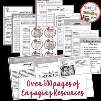 Poetry Activities Pack: Middle & High School Lessons, Games, Activities