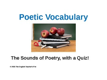 Poetry Devices Vocabulary PowerPoint and Quiz