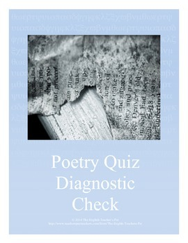 Poetry Diagnostic Check Quiz and Answer Key