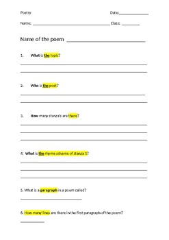 Poetry Diagnostic Test