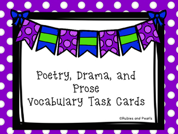 Poetry, Drama, and Prose Vocabulary Task Cards