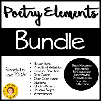 Poetry Elements BUNDLE -- Figurative Language and Sound Elements