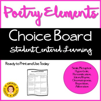 Poetry Elements Choice Board