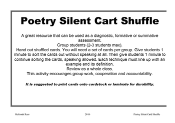 Poetry Elements- Silent Card Shuffle