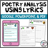 Poetry Analysis Using Lyrics | Distance Learning | GOOGLE | POWERPOINT | PDF