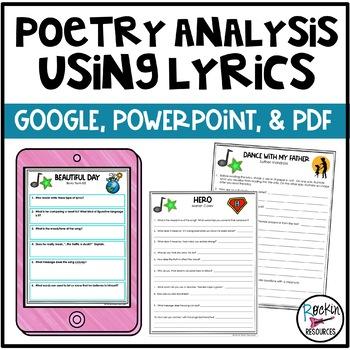 Poetry Analysis Using Lyrics   Distance Learning   GOOGLE   POWERPOINT   PDF