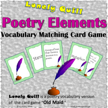 Poetry Elements - Poetry Vocabulary Matching Cards Game (A Version of Old Maid)