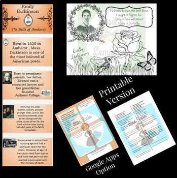 Poetry Emily Dickinson Little Rose and Nobody Questions, PPT, Coloring, Google