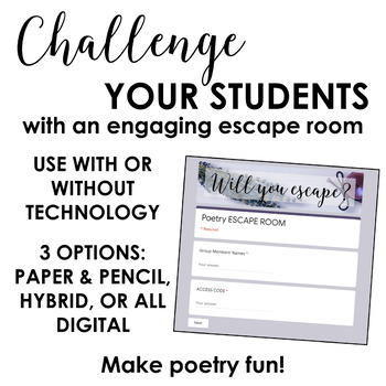 Poetry Escape Room: Engaging Poetry Activity (Elements + Devices + Analysis)