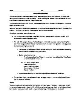 Poetry explication essay assignment by the english emporium tpt