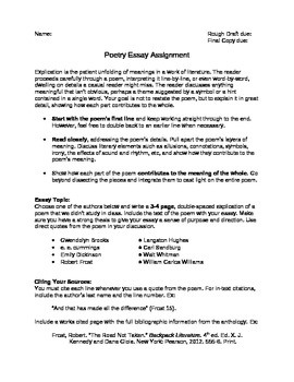 poetry explication essay with rubric by megan altman  tpt