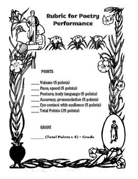 Poetry Recitation Rubric & Worksheets | Teachers Pay Teachers