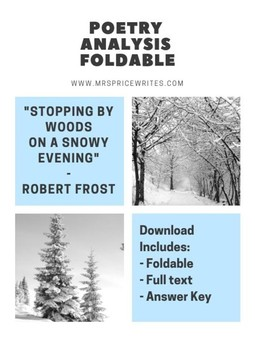 Poetry Foldable - Stopping by Woods on a Snowy Evening