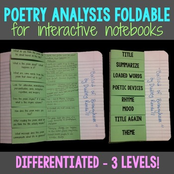 Poetry Foldable for Interactive Notebook