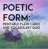 Poetry Form: Printable Flash Cards & Quiz