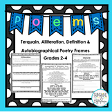 Poetry Frames for Terquain,Alliteration,Definition & Autob