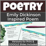 Free Poetry Assignment for Distance Learning - Emily Dickinson Inspired Poem