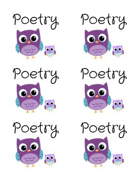 Poetry Genre Bin Labels -- Purple Owls