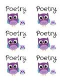 Poetry Genre Bin Labels -- Purple Owls