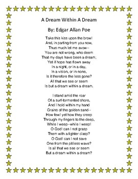 A Dream Within A Dream Poem Analysis Questions: Grade 6 - 9