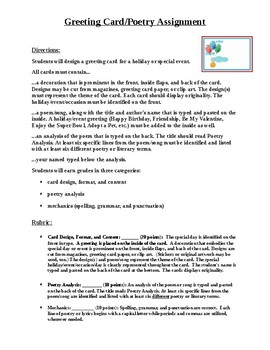 Poetry Greeting Card Assignment and Rubric